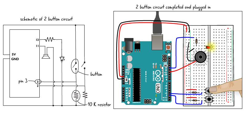 how to connect a 2 pin button to arduino