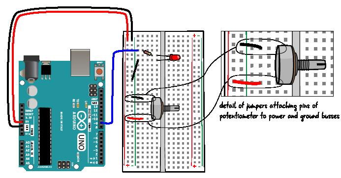 chapter 6 potentiometer circuit step by step arduino to go rh arduinotogo com